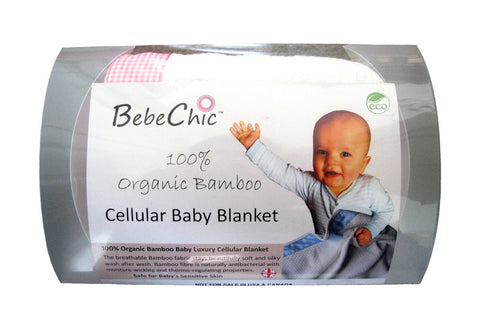 bamboo cellular baby blanket - natural white / rose