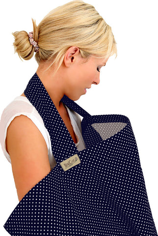 dot breastfeeding cover - navy / white