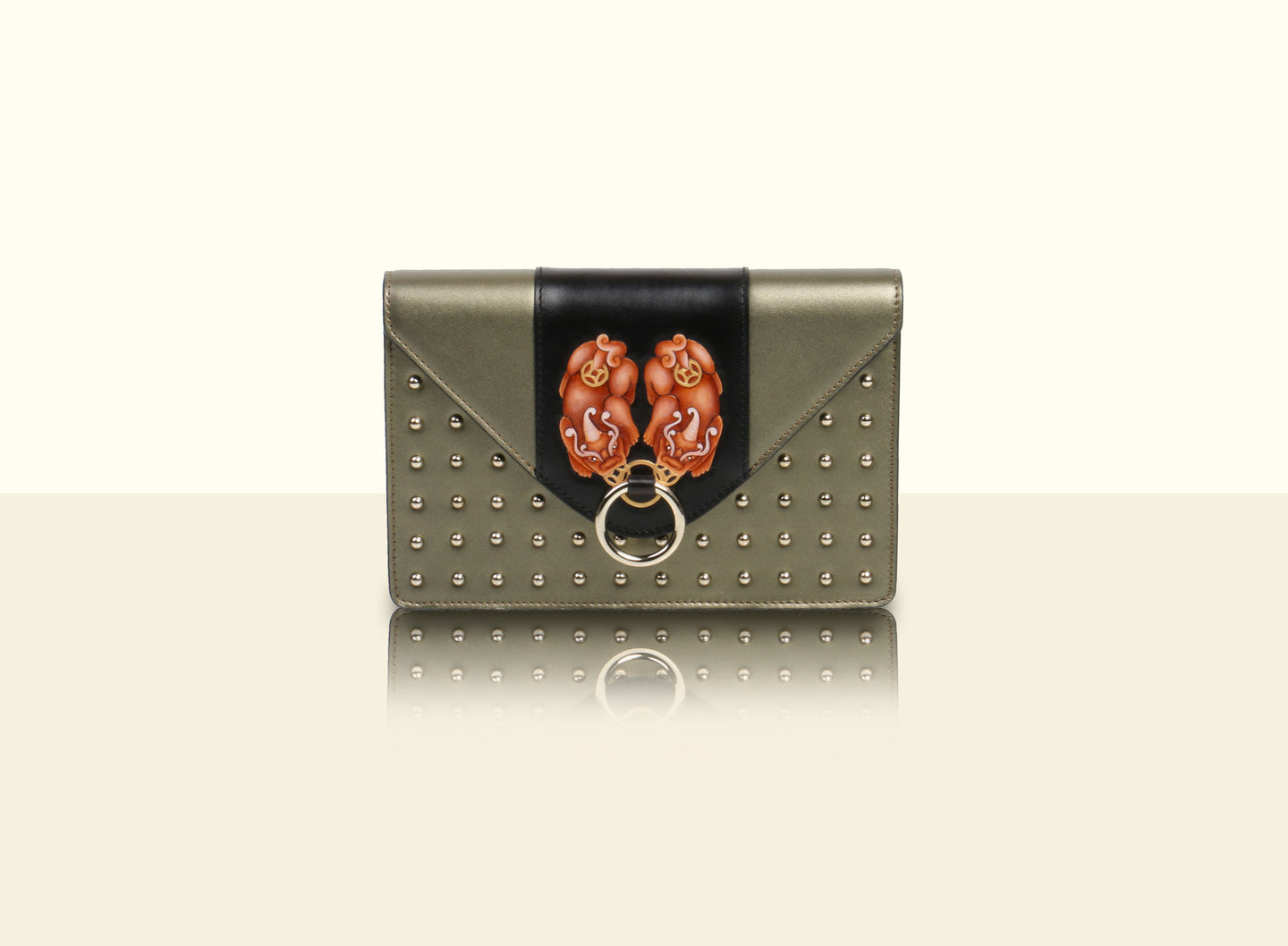 Gate of Guardian Clutch (Small) - Metallic Green and Black