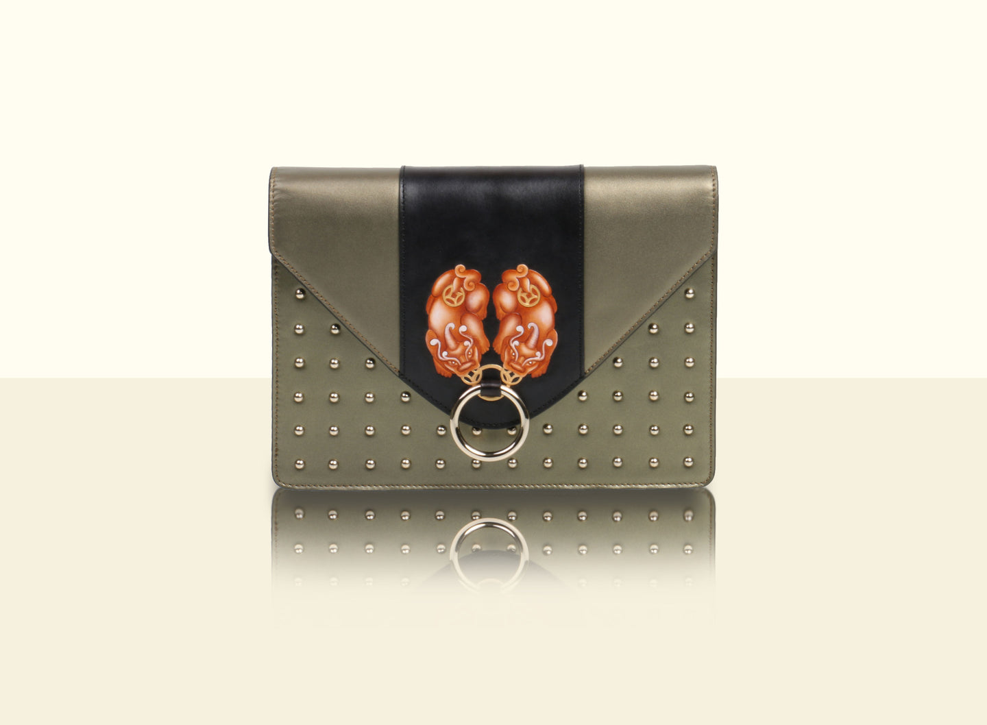Gate of Guardian Clutch (Large) - Metallic Green and Black