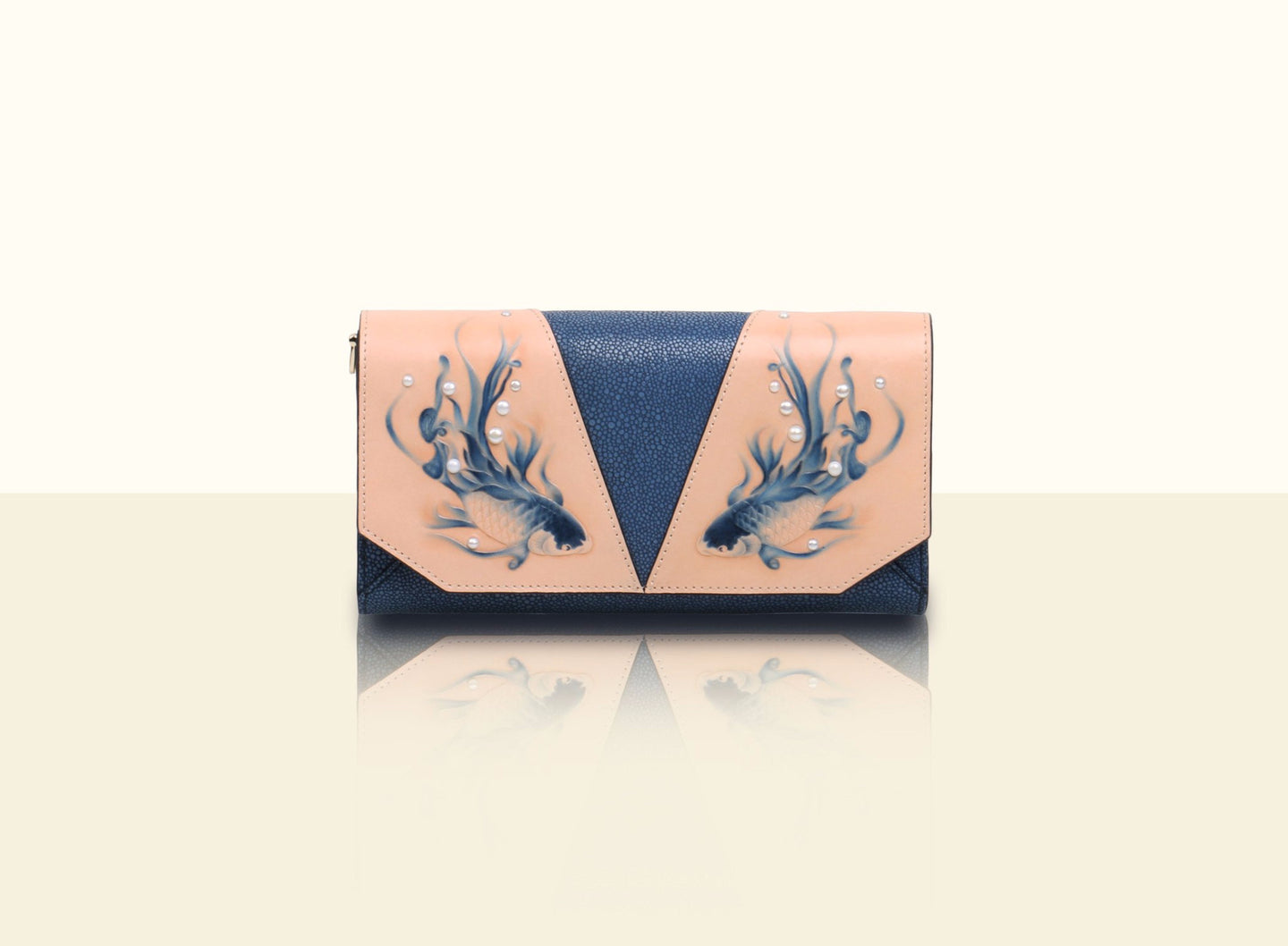 Shimmering Yu Clutch - Deep Blue and Original