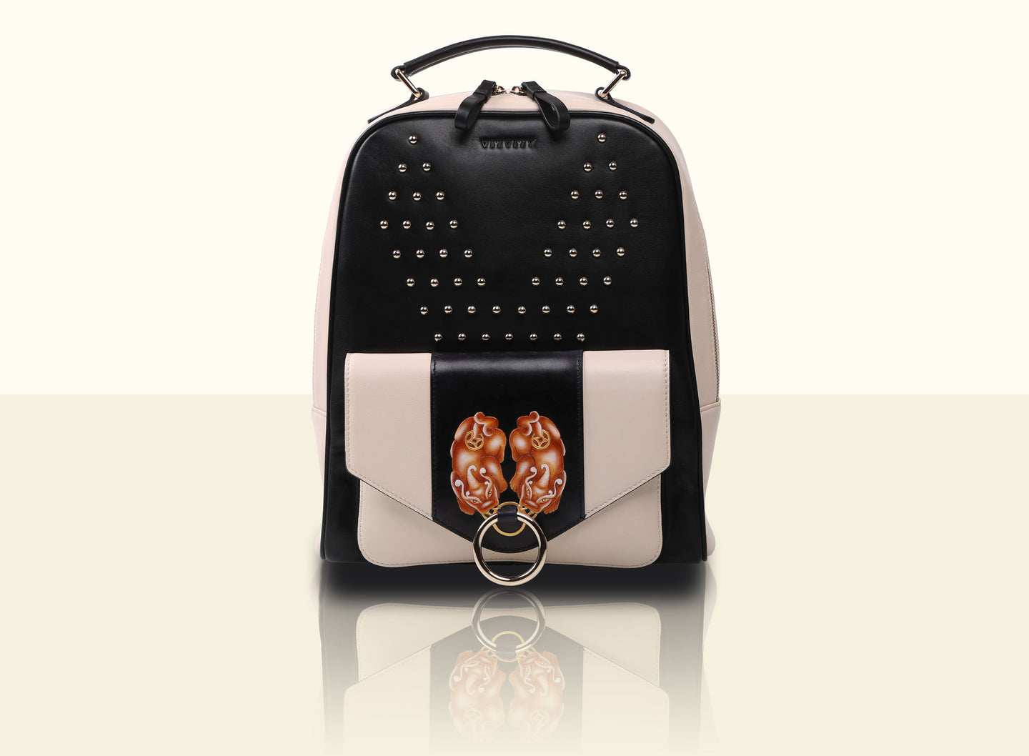 Gate of Guardian Backpack - Black and Creamy White
