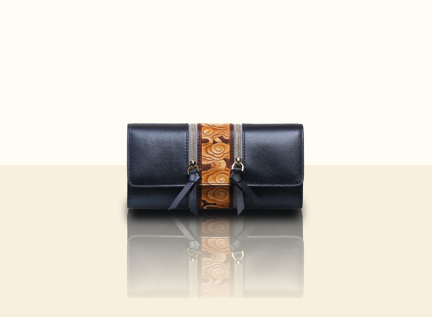 Glorious Clouds Wallet - Metallic Blue and Brown