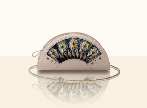Exquisite Fan Clutch - Creamy White and Black