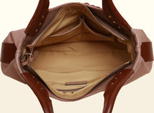 Exquisite Fan Top Handle - Deep Apricot and Brown