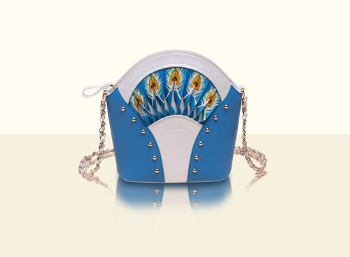 Exquisite Fan Crossbody (Small) - Lake Blue and White