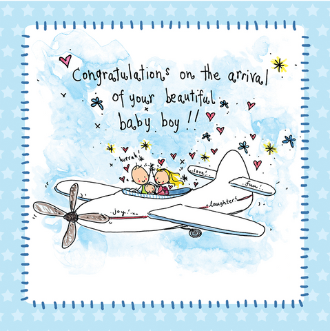 Greeting cards tagged new baby juicy lucy designs trade copy of congratualtions on the arrival of your beautiful baby boy m4hsunfo