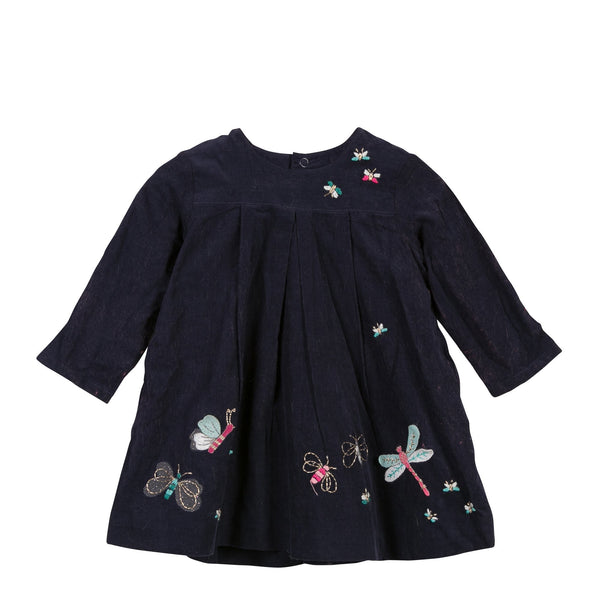 Embroidered Velvet Dress | Navy - SALE