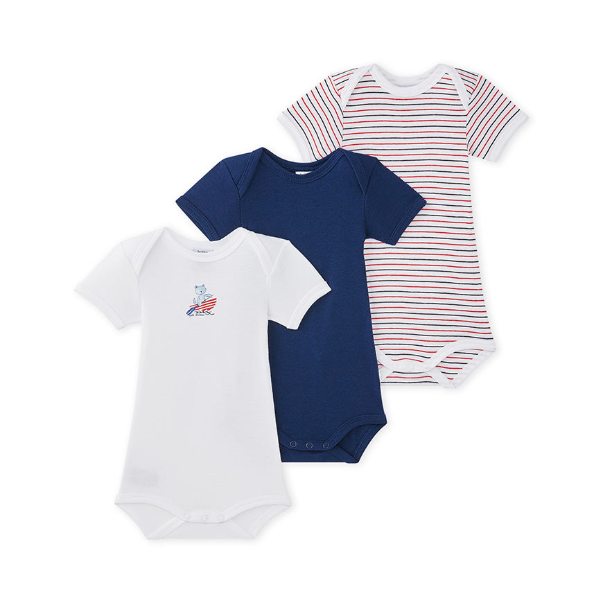 S/S Bodysuit 3pk | White/Navy/Red and Navy Stripe