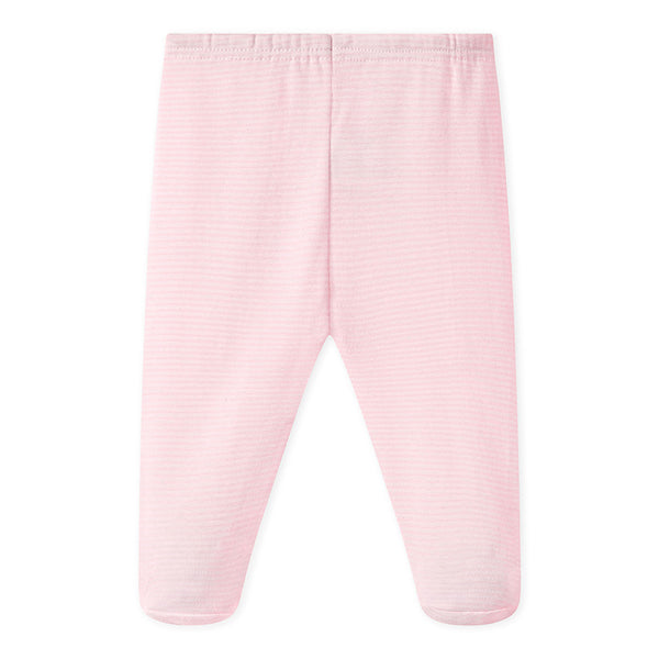 Footed Pants | Pink Stripe