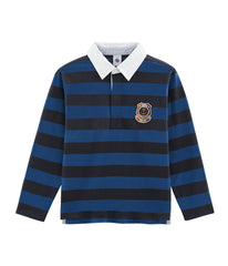L/S Navy Rugby Shirt | Blue/Navy Stripe