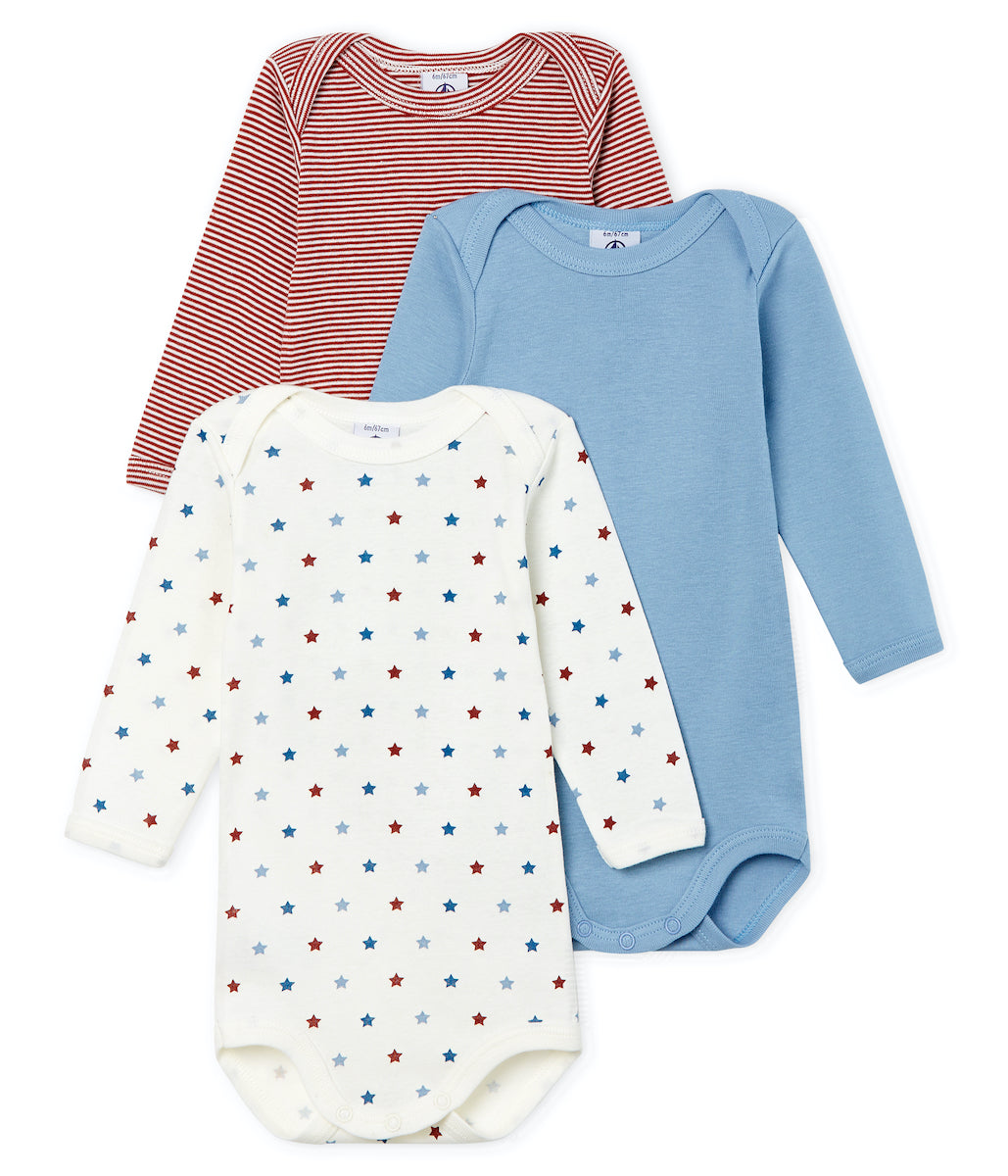 L/S Bodysuit 3pk | Blue/Star Print/Red Stripe