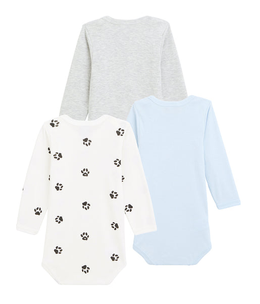 L/S Bodysuit 3pk | Pale Blue/Grey/Paw Print