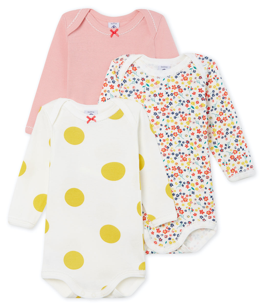 L/S Bodysuit 3pk | Yellow Spot/Floral/Peach