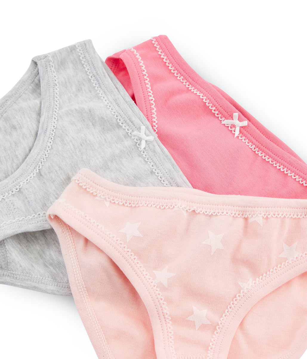 3pk Knickers | Pink/Pale Pink/Grey