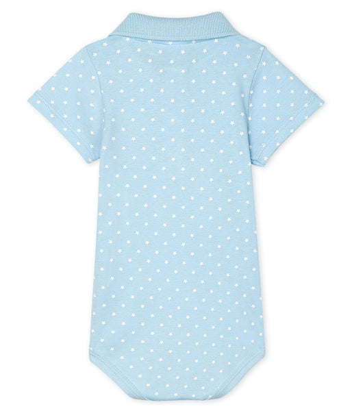 S/S Polo Bodysuit | Blue w/Stars
