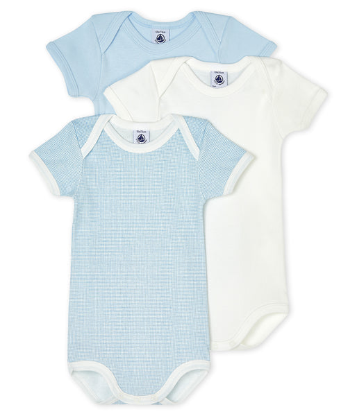 S/S Bodysuit 3pk | Blue/White/Blue Check