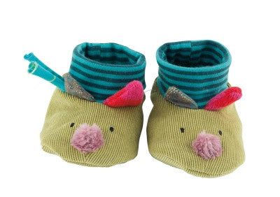 Jolis pas Beaux Baby Slippers | Green Wolf