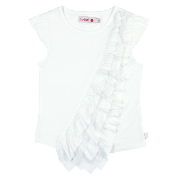 Tee Shirt w/Ruffle | White - SALE