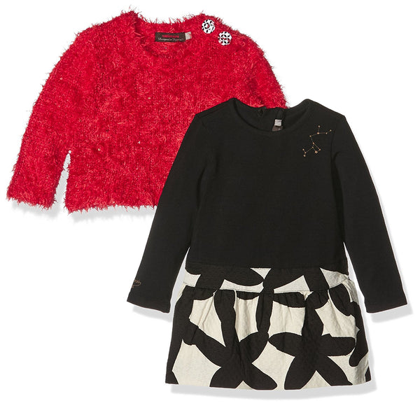 Dress and Jumper | Vanilla/ Black Print and Red