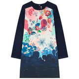 Floral Front Panel Dress | Navy