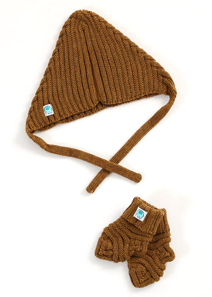 Archie Merino Rib Hat & Booties Set | Cinnamon