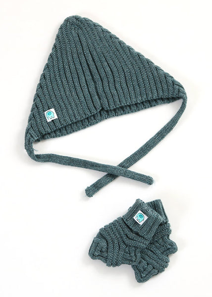 Archie Merino Rib Hat & Booties Set | Duck Egg