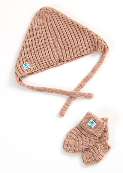 Archie Merino Rib Hat & Booties Set | Tea