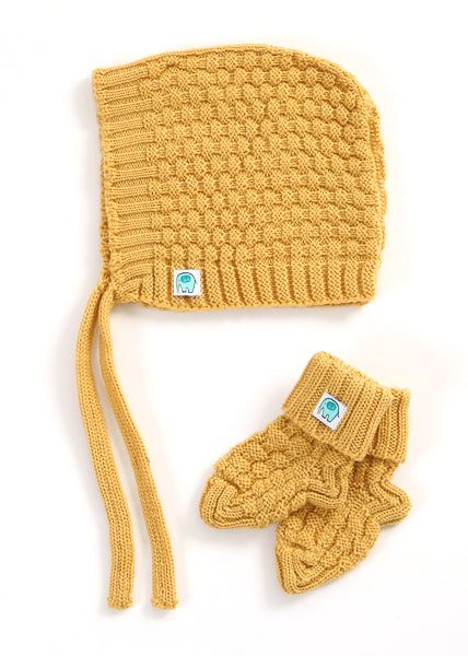 Bellamy Merino Hat & Booties Set | Banana