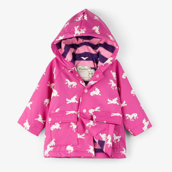 Baby Raincoat | Colour Changing Unicorn Silhouettes
