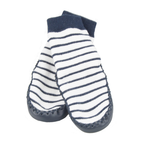 Leather Moccasin Socks | Navy Stripe