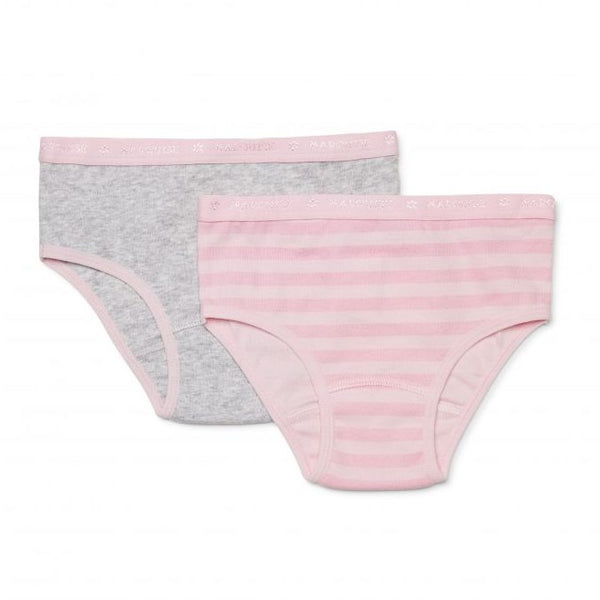 Girls Undies 2Pack | Pink Stripe/Grey