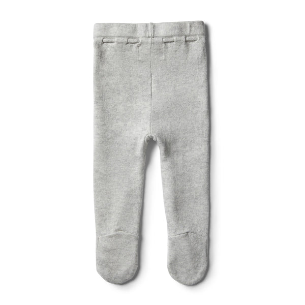 Knitted Leggings w/Feet | Cloud Grey