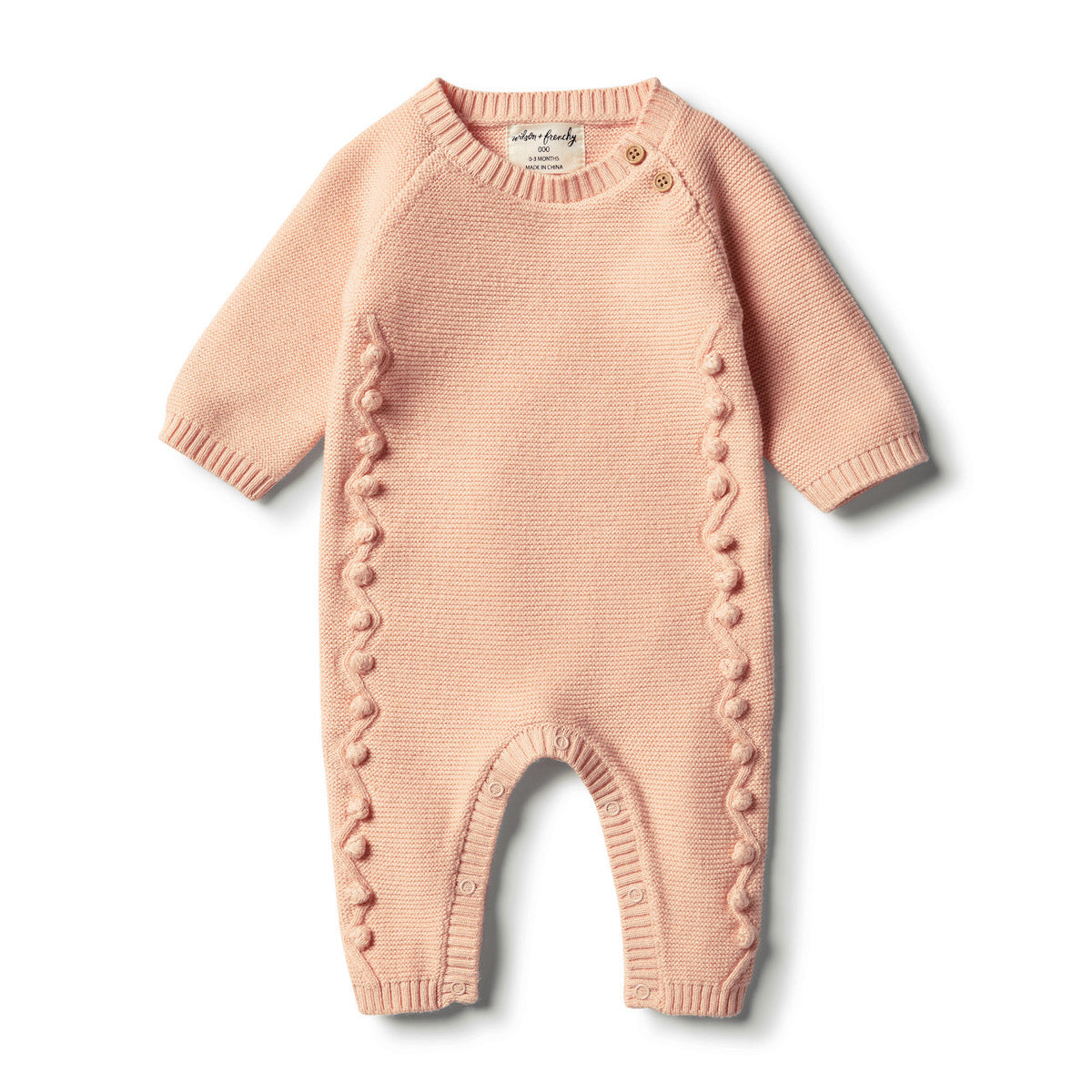 Knitted Growsuit w/Baubles | Tropical Peach