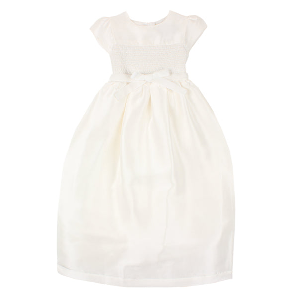 S/S Smocked Christening Gown | Ivory
