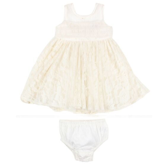 Lace Tulle Dress w/Bow | Ivory