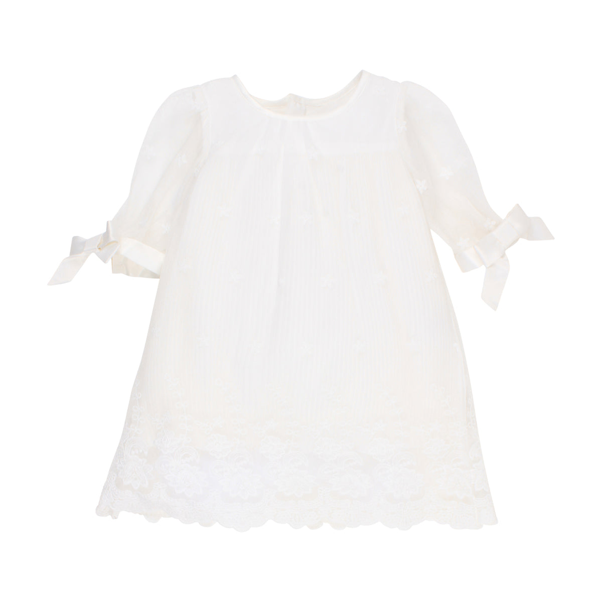 Pleated Lace Dress S/S | Ivory
