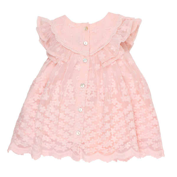 Frill Sleeve Lace Dress | Pink