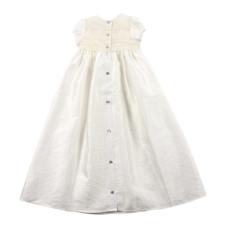 S/S Taffeta Christening Gown | Ivory