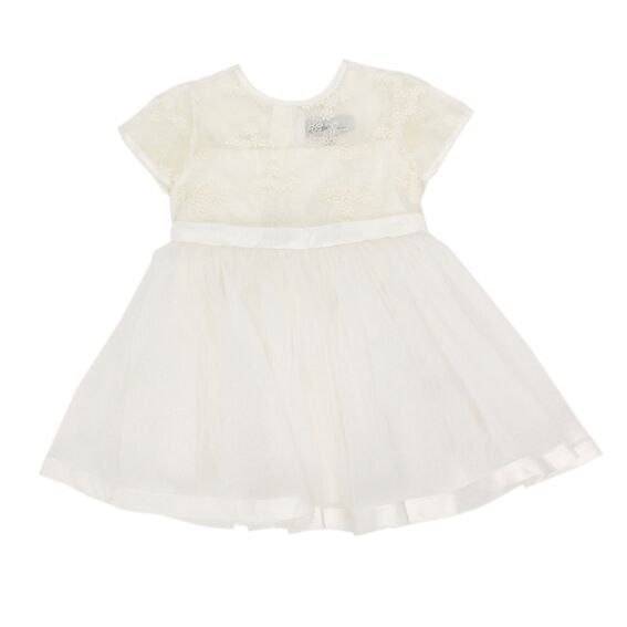 S/S Organza Dress w/Bow | Ivory