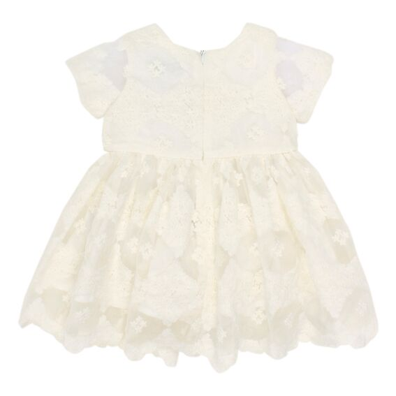 S/S Lace Dress w/Rose | Cream