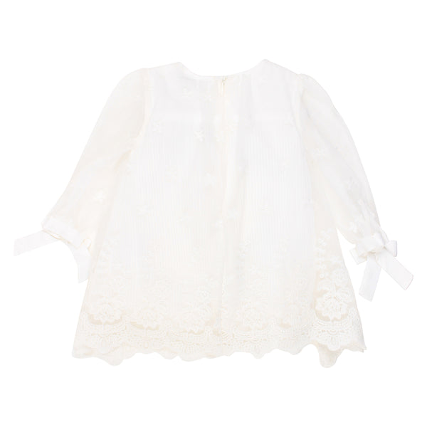Pleated Lace Dress | Ivory
