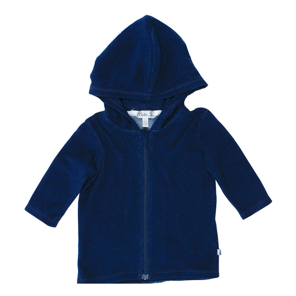 Caleb L/S Zip Hooded Towel Jacket | Royal Navy