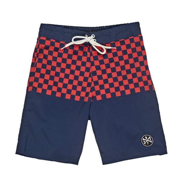 Check It Board Shorts | Navy/Red