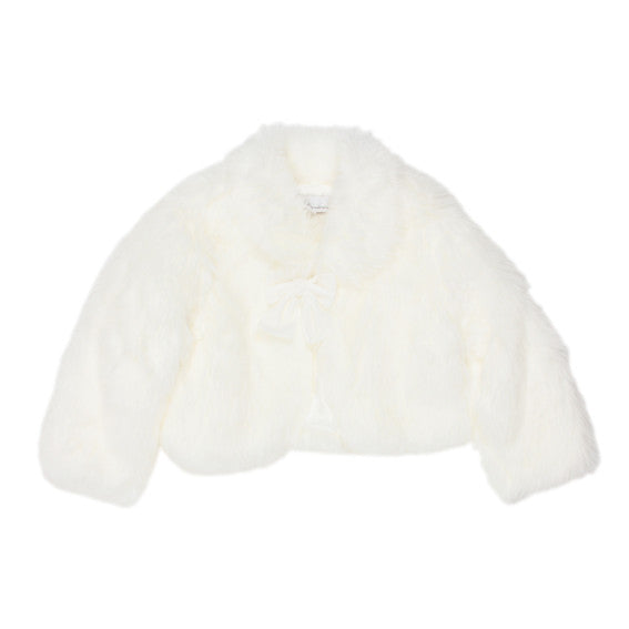 Fur Jacket with Bow | Ivory