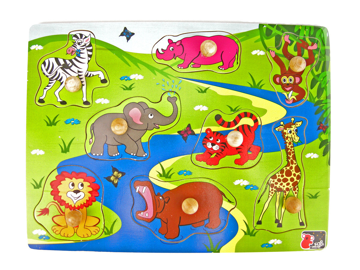 Wooden Safari Animal Peg Puzzle