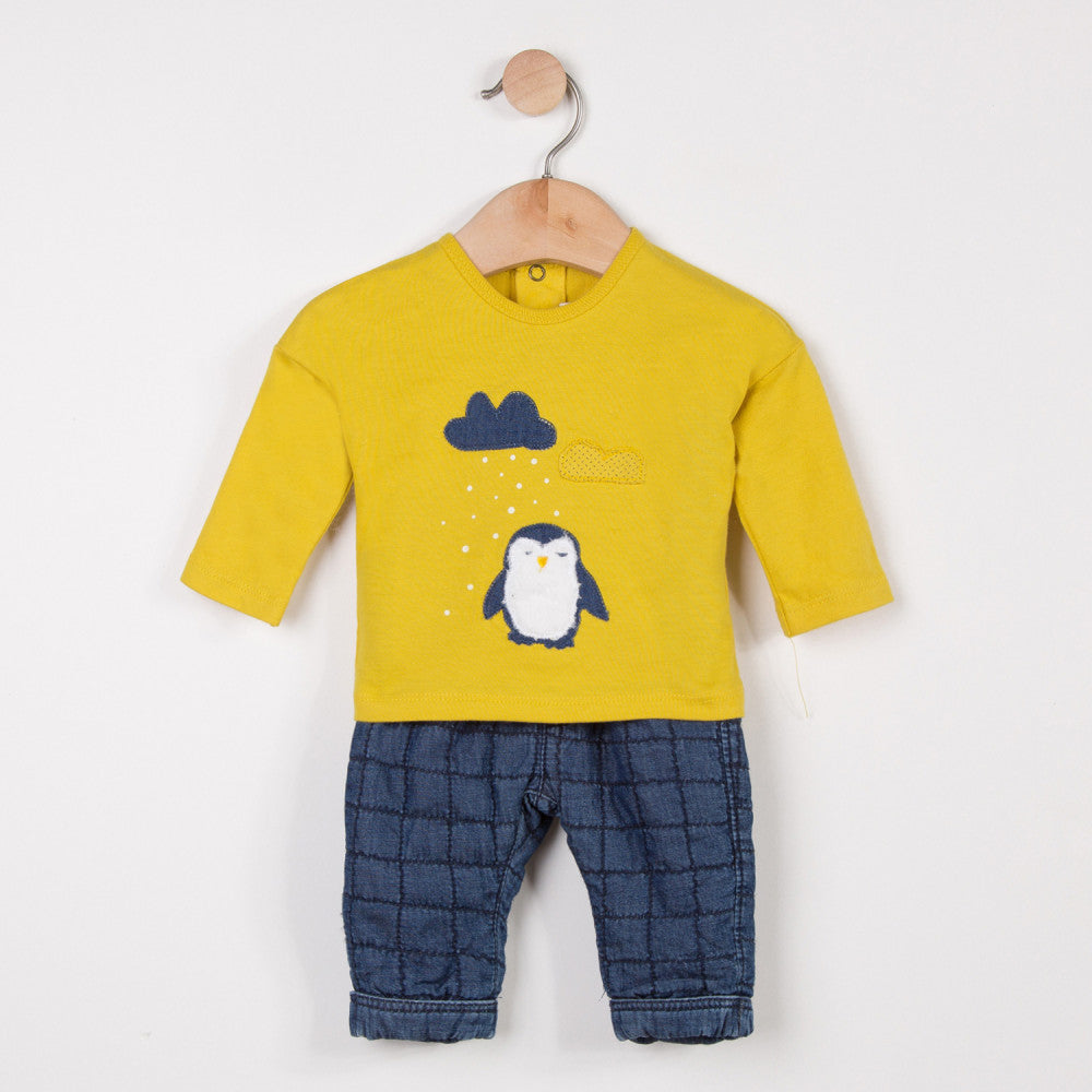 Penguin Tee and Chambray Knit Trousers