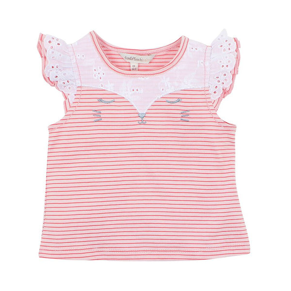 Tweet Stripe Cat Face Top - SALE