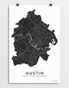 Austin Texas city map print minimalistic