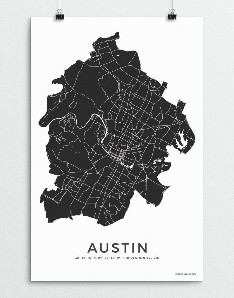 Austin Texas city map print